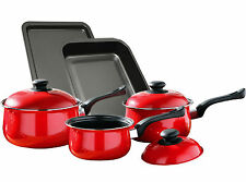 8 Piece Non Stick Carbon Steel Saucepan Roasting & Oven Tray Lid Cookware Set