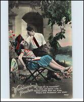 Künstler-AK 1910 Love & Romance Liebe Romantik Paar Wochenend-Freuden koloriert