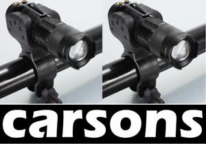 1 / 2 Mini Alloy Zoom Cree Q5 Torch Bike Lights Head Light Lamp Set kit CARSONS