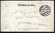 South Africa 1917 Prisoner Of War Cover From Internment Pietermaitzburg Camp &