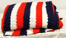 """Red White Blue Striped Afghan Twin Size Throw 40"""" x 75"""" Handmade"""