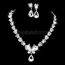 Bridal Wedding Jewelry Crystal Necklace Earrings Set Butterfly Long Pendant