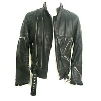 Vtg Hein Gericke Multi Zip Leather Biker Jacket Belted Lined Black Mens size 40