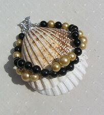 "Black Onyx & Golden Shell Pearl Crystal Gemstone Wave Bracelet ""Arizona"""
