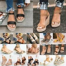 Damen Keilabsatz Espadrilles Plateau Freizeit Sandalen Sommerschuhe Sandalette