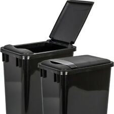 Pack of 2- Black 35 Quart Trash Cans with matching lids
