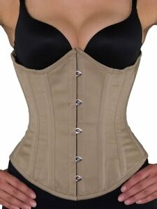 "NEW! 345 Authentic Beige Cotton 18"" Inch Underbust Corset Steel Boned."