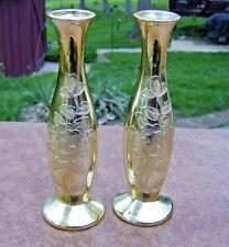 "vintage pair of 7"" gold bud vases raised flowers enesco imports Japan"