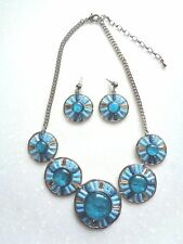 New Women Fashion Necklace Earring Set Statement Blue Crystal Pendant Chunky