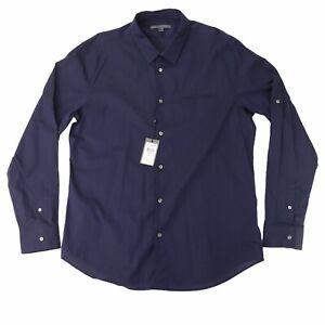 John Varvatos Collection Midnight Blue Slim Fit Long sleeve Shirt Size 2XL NWT
