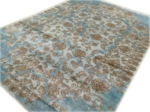 9'x12'Rug Modern Luxury Hand Knotted Bamboo Silk Blue Brown Area rug