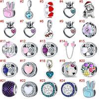 European Silver Charms Xmas Flower CZ Beads Pendants Fit 925 Sterling Bracelets