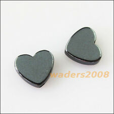 25 New Charms Black Hematite Gemstone Loose Heart Flat Spacer Beads 8mm