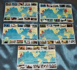 US - 5 World War II Blocks of 10 each, Sc. 2559, 2697, 2765, 2838, 2981, MNH