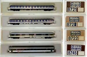 MARKLIN Z SCALE  8721-8721-8722-8745 - 4 Assted Passenger Cars  C7 Marklin Boxes
