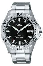 Mens Pulsar Black Rubber Black Dial Date Divers 100 Meter Sport Watch PXH227