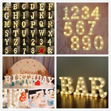 PLASTIC ALPHABET LETTER LIGHTS LED LIGHT UP WHITE LETTERS FREE STANDING NUMBERS