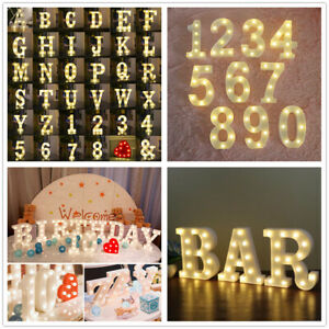 Large LED Light Up Alphabet Letters Number Lights Standing Hanging Wedding Party