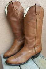 LARRY MAHAN Womens Cowboy Boot Soft Honey Brown Leather Western Riding Size 7.5B
