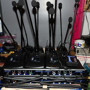 4 VocoPro DigitalQuad-Conference 4ch Uhf Digital Units w/15 Wireless Microphones