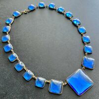 Signed MADE IN CZECHOSLOVAKIA Vintage Art Deco Sapphire Glass Necklace RARE! 372