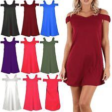Women Off Shoulder Wide Strap Cold Shoulder Bardot Shift Ladies Swing Mini Dress