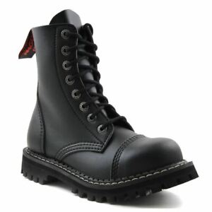 Angry Itch Vintage Black Leather Combat Boots 8 Hole Punk Army Steel Toe