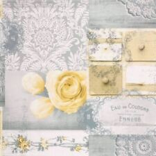 Shabby Chic Ophelia Decoupage Yellow Grey Feature Wallpaper