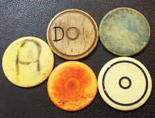 URUGUAY C1900´S LOT x5 OLD GAME & RURAL TOKENS, MADE BONE, DIFFERENTS TO CLASIFY