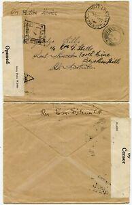 CEYLON to PORT LINCOLN 1942 WW2 FPO 40 REDIRECTED in SOUTH AUSTRALIA + CENSORED