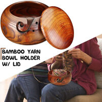 Wooden Bamboo Yarn Wool Crochet Knitting Tool Storage Bowl With Lid