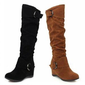 New Women's Fashion Winter Warm Outdoor Hidden Wedge Heel Mid Calf Boots 35/43 D