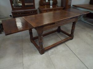 Antique Solid Oak Drawleaf Refectory Dining Table