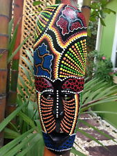 AFRICAN ART MASK AUSTRALIAN ABORIGINAL TRIBAL WOOD DECOR HANGING HAND PAINT DOT