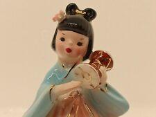 Vintage Josef Originals International Japanese Playing Taiko Drum Girl Figurine