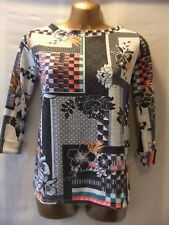 LADIES River Island 8 MULTI COLOUR GRAPHICS/STRETCH/OPEN BACK/SLEEVED CASUAL TOP