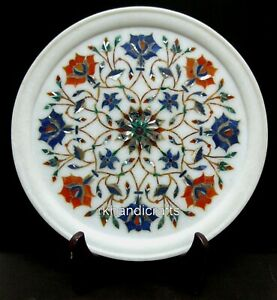 10 Inches Marble Collectible Plate Hand Inlaid Office Decor Plate Elegant Look