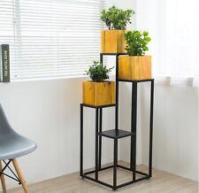 Plant Stand Indoor 4 Tiers Planter Shelf Shelves Pots Display Holder Black Metal