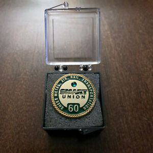 NEW Vintage SMART Union 60 Year Sheet Metal Air Rail Transportation Lapel Pin US