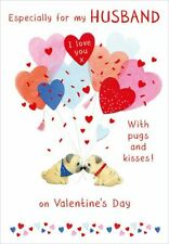 Valentines Day Card Husband Pugs Heart Balloons