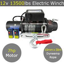 12V 13500lb Electric Winch 10mm X 30m Dyneema Rope 4WD 4x4 13000lb 12000lb