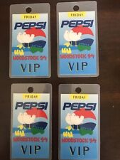 Woodstock 1994 Pepsi Vip (4) Laminated Passes For Friday