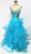 NWT Mac Duggal 61405H Aqua $558 Ball Formal Prom Gown 10
