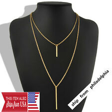 Women Bohemian Gold Plated Long Sweater Chain Vertical Bar Pendant Necklace XL01