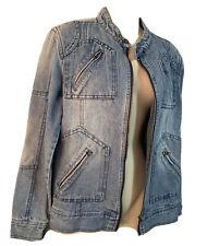 UNISEX Y2K Biker Denim Jean Jeans Old School All Season Jacket Zip Pocket UK 12