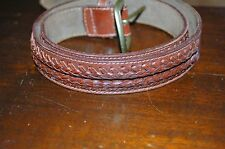 Banana Republic Brown Leather - Sz 32 belt - Brass Buckle -leather weaving