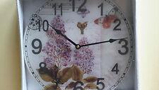 Küche Uhr Nostalgie Landhausstil Wanduhr Vintage Hyazinthe Glasuhr   50322