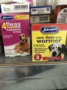JOHNSONS BUNDLE DOG WORMER WORMING TABLET SIZE 3 & 4FLEAS TABLETS LARGE DOGS