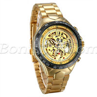 Mens Luxury Gold Tone Stainless Steel Band Automatic Mechanical Wrist Watch Gift