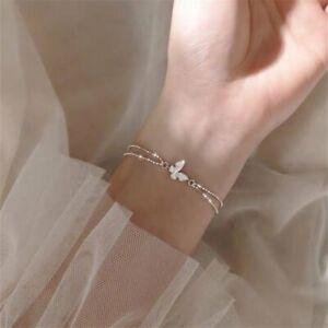 Luxury Crystal Zircon Silver Butterfly Bracelet Bangle Women Wedding Jewlery